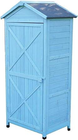 QILIN Cobertizo De JardíN Exterior, gabinete de Almacenamiento Multifuncional, Caja de Almacenamiento de Madera Maciza, Utilizado en la Sala de Estar, balcón, Patio (Azul de 710 × 560 × 1550 mm): Amazon.es: Hogar
