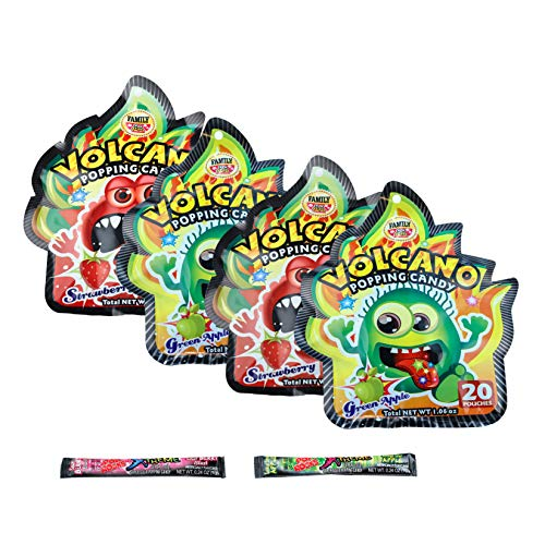 Volcano Candy and Extreme Pop Rock Candy Variety 6 Pack Bundle (2 Strawberry, 2 Green Apple, 1 Sour Berry, 1 Sour Apple)