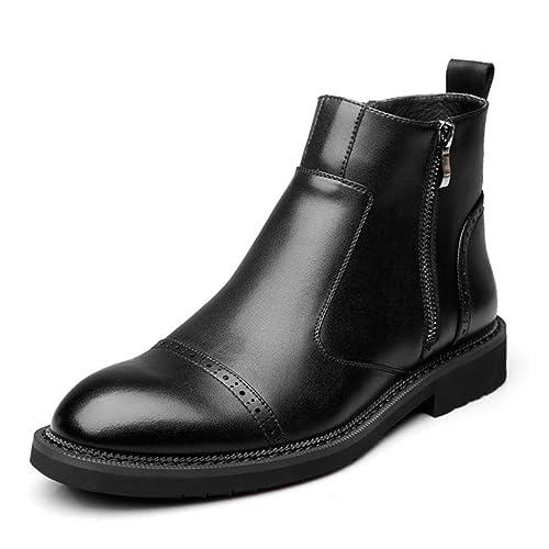 Botas Chelsea De Cuero para Hombre Botines con Cremallera Casual Biker Elegante Punta Estrecha Zapatos De Vestir De Negocios: Amazon.es: Zapatos y ...