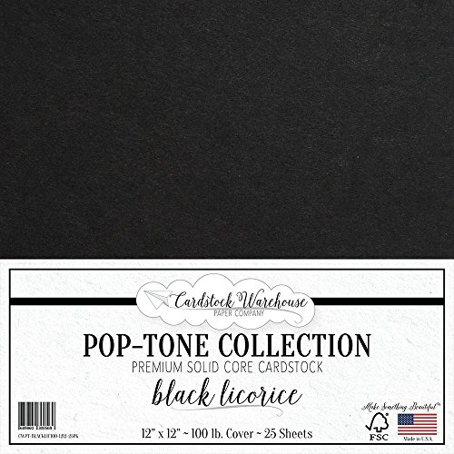 Black Licorice Cardstock Paper - 12 x 12 inch 100 lb. Heavyweight Cover - 25 Sheets from Cardstock Warehouse by Cardstock Warehouse