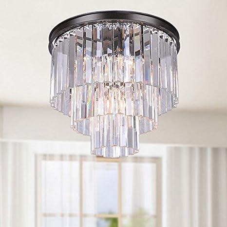 Justina 5 light crystal glass prism 3 tier flush mount chandelier in justina 5 light crystal glass prism 3 tier flush mount chandelier in antique black aloadofball Gallery