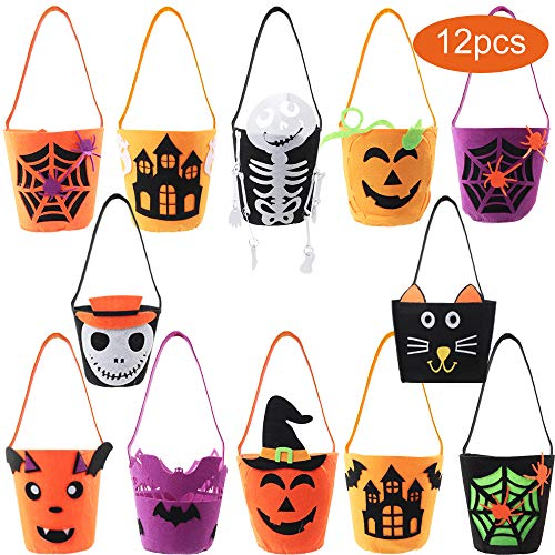 Cute Halloween Buckets - Funarty 12 Packs Halloween Bucket Felt