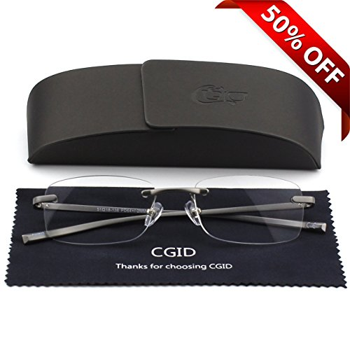 Unisex Lightweight Rimless Frameless Rectangle Reading Glasses Mens Womens Spring Hinge Fashion Readers Reading Glasses - Small Glasses Rimless