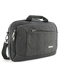 "Evecase 13.3"" - 14"" Canvas Messenger Bag - Dark Grey w/ Handles, Shoulder Strap, and Multiple Accessory Pockets (for 13.3 - 14 in laptops, ultrabooks, or tablet pc)"