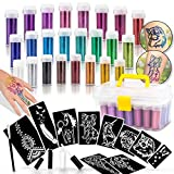 INGALA Pro Grade Glitter Tattoos Kit. 24 Extra Fine Glitter Colors, Loveliest PRO Body Art Stencils and Body Art Glue for the Perfect Glitter Tattoo Set. In A Handy Arts & Crafts Carry Box (10 Stencils)