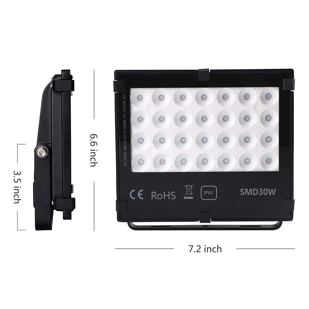 UV LED Black Light Flood Light, 30W UltraViolet Outdoor Flood Light, IP65 Waterproof for BlackLight Party,Stage Lighting, Aquarium, Body Paint, Fluorescent Poster,Glow in Dark Party and DJ Night Club. by SONSY HOME (Image #1)