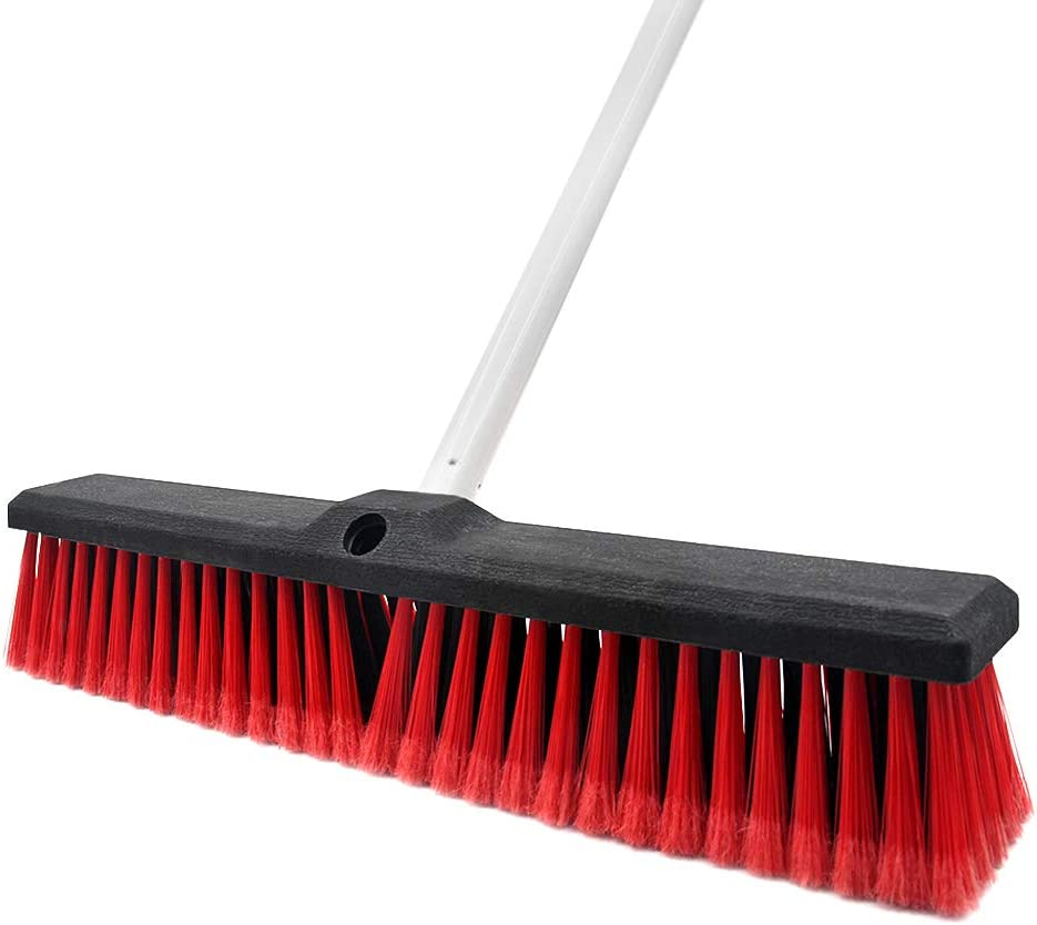 Push Broom Stiff Indoor Outdoor Rough Surface Floor Scrub Brush 17.7 inches Wide 61.8 inches Long Handle Stainless Steel, for Cleaning Bathroom Kitchen Patio Garage Deck Concrete Wood Stone Tile Floor