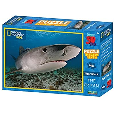 National Geographic The Ocean Tiger Shark Super 3D Effect Puzzle (100-Piece, Multi-Colour): Toys & Games