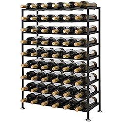 LEMY Large 54 Bottle Wine Rack Stackable Modular Wine Display Shelf Cellar Storage Organizer Display Stand