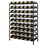 ZENY Deluxe 54 Bottles 9 Tier Foldable Freestanding Wine Rack Stand Black Metal Wine Rack Cellar Storage Organizer Display Stand