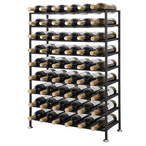Smartxchoices 54 Bottle Wine Rack Black Solid Steel Free Standing Cellar Wine Bottle Holder Storage Rack Organizer Shelves Kitchen Liquor Wine Display Stand (Wrought Wine Rack Iron Metal)