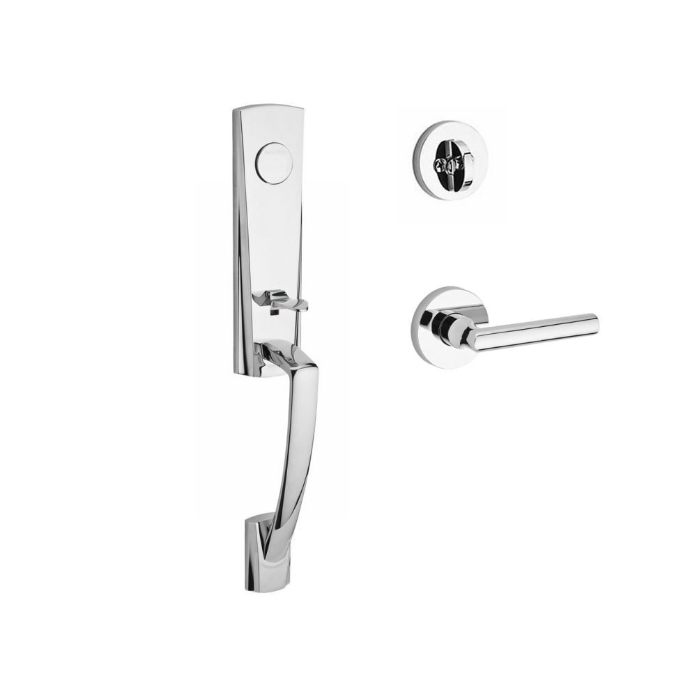 Baldwin FDMIAXTUBLCRR260 Reserve Full Dummy Handleset Miami x Tube with Contemporary Round Rose in Bright Chrome Finish Left hand