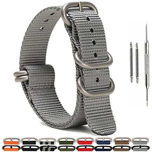 Watch Bands,Military Nylon Replacement Watch Strap with Silver Heavy Duty Buckle 18mm 20mm 22mm or 24mm(18mm,Grey) ()