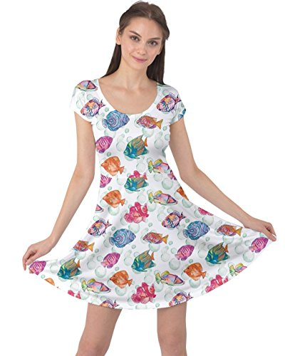 CowCow Womens Colorful Sea Pattern Tropical Fish Medusa Ocean Short Sleeve Dress, Colorful - M]()