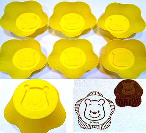 Set of 6 Winnie The Pooh Silicone Mold Muffin Baking Cup Cupcake Liner