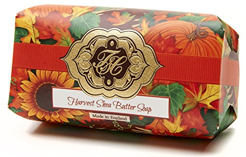 Harvest w/Golden Fall Leaves, Luxury Large Oversized, Beautifully Scented Shea Butter, Soap Bar, Made in England, Triple Milled. Environmentally Friendly (Green). 8.0oz.