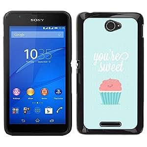 EJOY---Cubierta de la caja de protección para la piel dura ** Sony Xperia E4 ** --eres tan dulce magdalena azul rosa