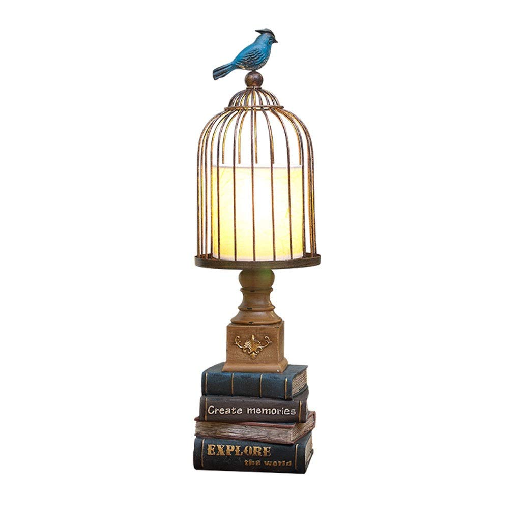 Weiyue Table lamp- Table Lamp Bedroom Bedside Table Lamp Home Living Room Study Creative Retro Lamps, Size: 58x19cm (Color : Birdcage, Size : 58x19cm)