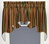 Ellis Curtain Mateo Medium Scale Stripe Print Lined Duchess Valance, 100 by 30-Inch, Black For Sale