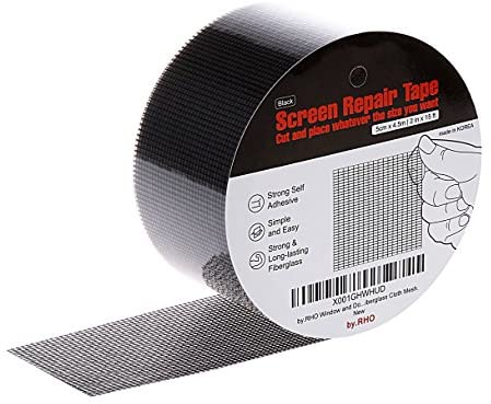 by means of.RHO Window Screen Repair Kit Tape. Black XL(15FT). 3-Layer Strong Adhesive & Waterproof Fiberglass Covering Wire mesh Repair for Window Screen and Screen Door tears Holes Screen Repair package