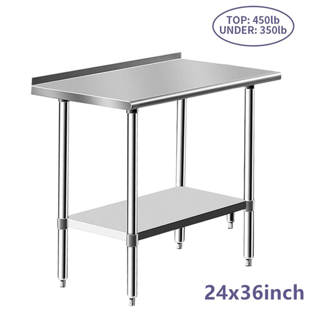 Stainless Steel Table for Prep & Work 24 x 36 Inches, NSF Commercial Heavy Duty Table with Undershelf and Backsplash for Restaurant, Home and Hotel