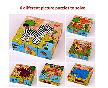 Rvold 9 Piece Colorful Wooden Block Picture Puzzle for Boys and Girls (Animal Theme)