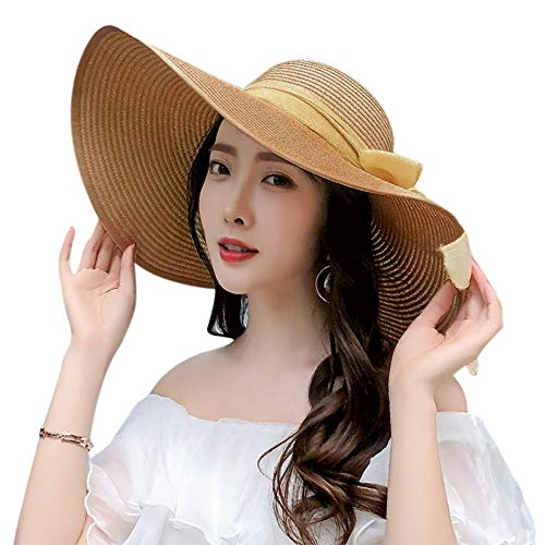 Chalier Womens Sun Hat Wide Brim Beach Hat Cap Floppy Foldable Roll up Summer Straw Hat (B-Khaki)