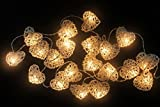 Natural White Heart Set Rattan Ball String Lights Fairy Party Decor Wedding Bedroom Garden Spa and Holiday 20 Lighting ( Battery AA LED ) by' Thai Decorated