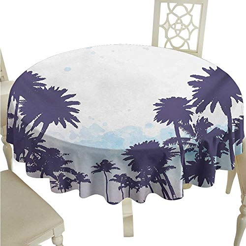 longbuyer Round Tablecloth Plastic Nature,Miami South American Plant Forest Tropic Natural Palm Trees Work of Art Print,Blue and White D36,for -