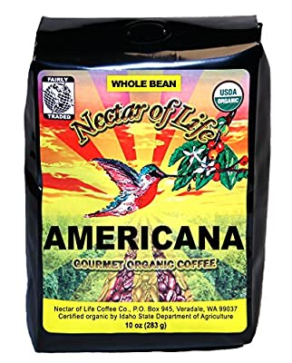 Nectar of Life - AMERICANA - Gourmet, Organic Whole Bean Coffee - 100% Organic and Fair Trade - Medium Roast - 10oz Bag