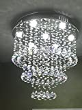 Siljoy W23.6 X H23.6 Round Clear K9 Crystal Chandelier Circles Ceiling Lamp LED Lighting Fixture