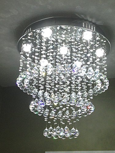 Siljoy W23.6″ X H23.6″ Round Clear K9 Crystal Chandelier Circles Ceiling Lamp LED Lighting Fixture Review