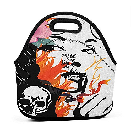 Travel Case Lunchbox with Zip Tattoo,Attractive Women with Pink Flower in her Hair near a Skull Design, Orange Pink Black and White,dragon lunch bag for women
