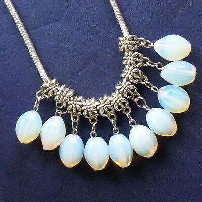 (FidgetKute 10Pcs Faceted Mixed Stone Drum Pendant Fit European Bracelet Necklace XLZ-442 Opal Opalite One Size)