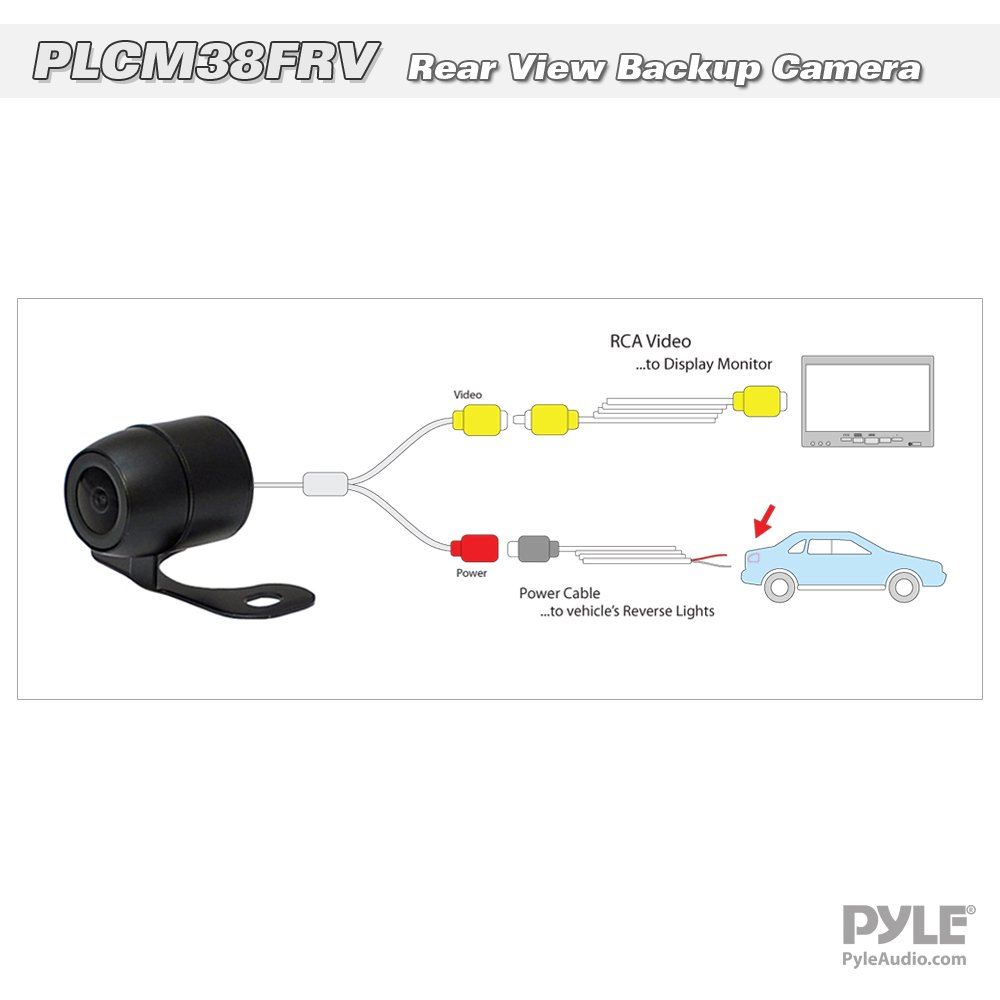 ... Waterproof Built-in Distance Scale Lines Backup Parking/Reverse Assist  Cam w/ Night Vision LED Lights 420 TVL Resolution & RCA Output - Pyle  PLCM38FRV: ...