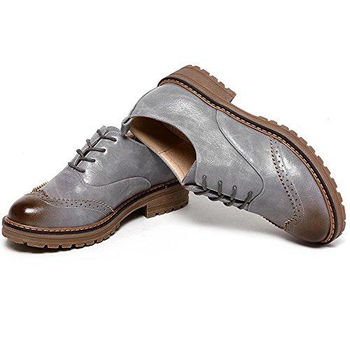 DoraTasia 4 Mujer para fur de Grey Zapatos Cordones 4WHSw8qf4