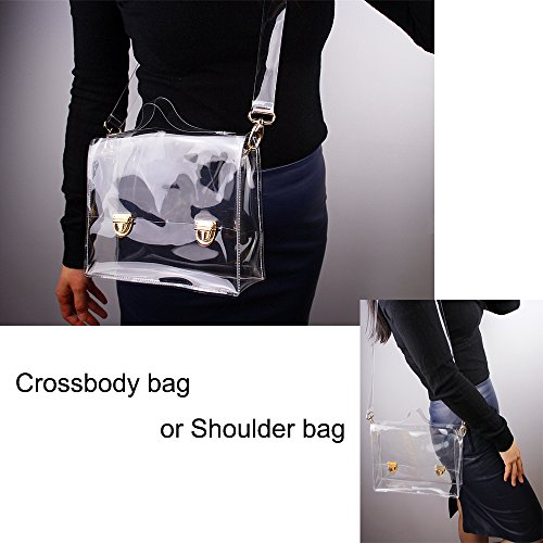 NFL Approved PVC Bag Handbag Transparent Clear Satchel Body Bag Stadium Clear Cross Women's Messenger Shoulder pqUPa