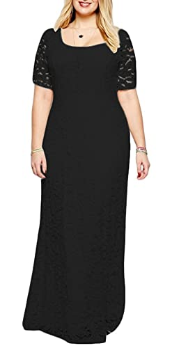 Eudolah Plus Size Scoop A-line Long Maxi Lace Gown