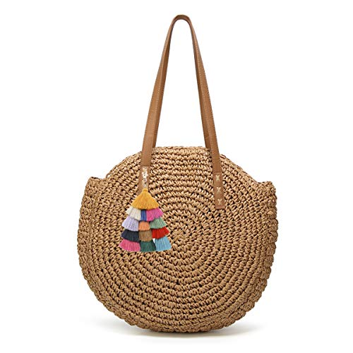 Women's Straw Handbags Large Summer Beach Tote Woven Round Pompom Handle Shoulder Bag ... (A-khaki4)