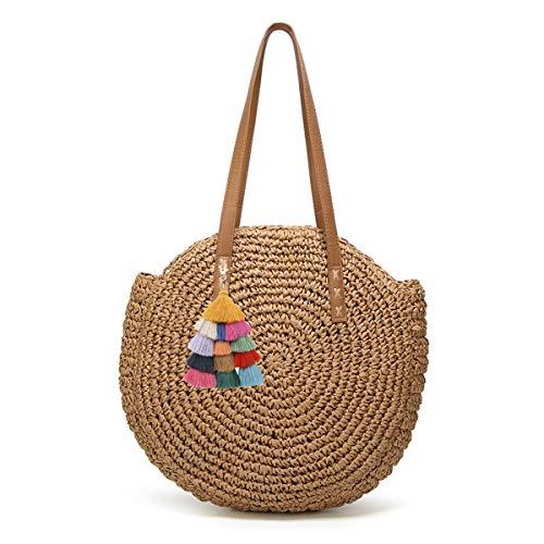 Women's Straw Handbags Large Summer Beach Tote Woven Round Pompom Handle Shoulder Bag ... (A-khaki4) (Beach Handbag Tote)