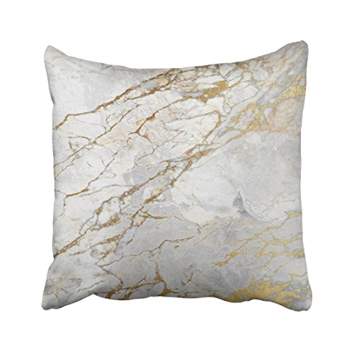 Shorping Zippered Pillow Covers Pillowcases 20X20 Inch white gray silver pearly gold vip brush marble Decorative Throw Pillow Cover ,Pillow Cases Cushion Cover for Home Sofa Bedding (Bedding Gold White Silver And)