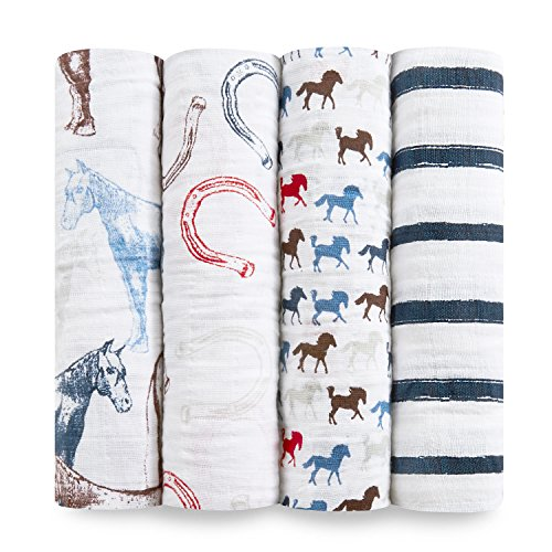 - aden + anais Classic Swaddle Baby Blanket, 100% Cotton Muslin, Large 47 X 47 inch, 4 Pack, Wild Horse, Horse/Horseshoe / Stripes