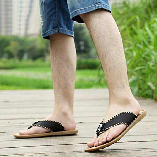 Abby QZYYU-1006-8 New Mens Style Concise Leisure Breathable Handsome Flat Classic Upper Leather Flip Flops Charming Sandals Thong Split Open Toe Black KS0LRRG