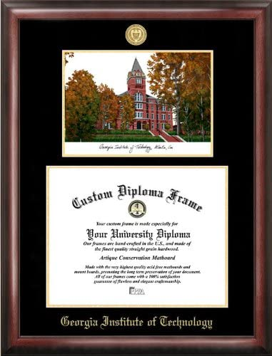 Amazon Com Campus Images Georgia Institute Of Technology 17w X 14h Gold Embossed Diploma Frame Lithograph Sports Fan Diploma Frames Sports Outdoors
