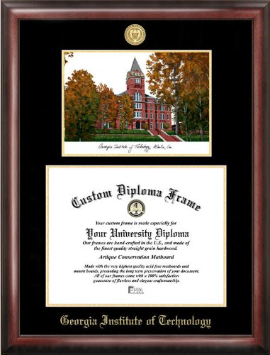 Georgia Tech Yellow Jackets Seal (Georgia Institute of Technology Gold embossed diploma frame with Campus Images lithograph)