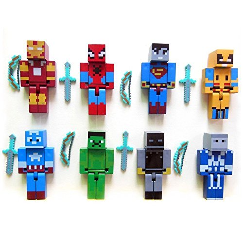 MINI ACTION FIGURE PIXELATED SUPERHERO (Superhero Action Figure Toy)