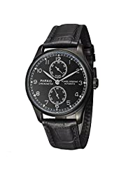 Whatswatch 43mm Parnis Power Reserve Polit Dial PVD Case Seagull Automatic Men's Watch pa-025