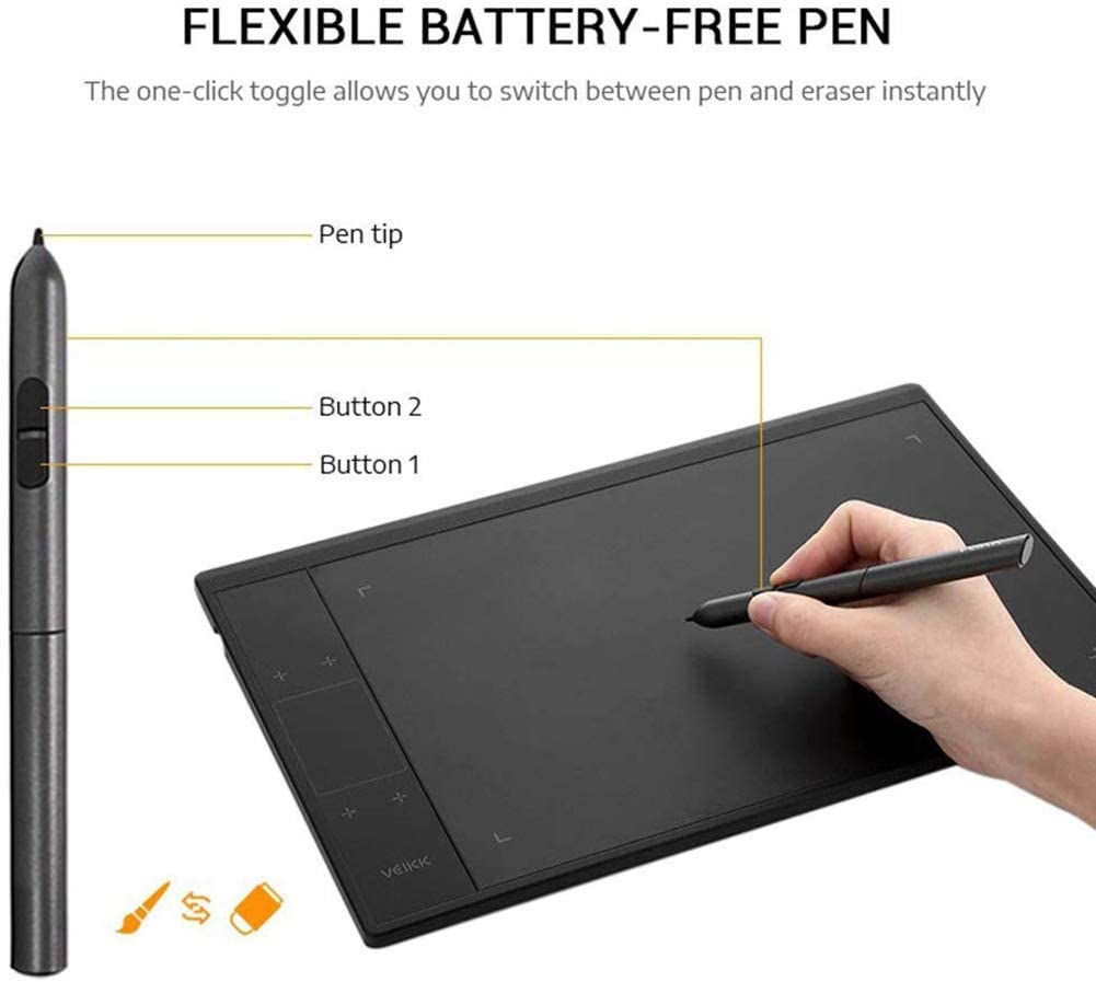 Ultra-Fine Tablet Smart Touch Electronic Drawing Tablet F8 8192 Levels Pressure Digital Graphics Tablet with Battery-Less Stylus