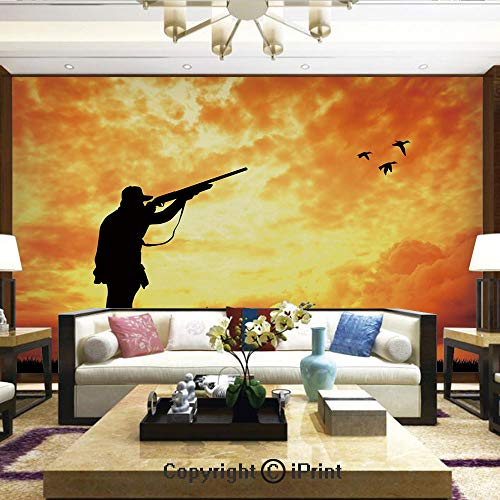 Lionpapa_mural Removable Wall Mural Ideal to Decorate Your Dining Room,Majestic Sunset Huntsman with Shotgun Mallards and Dog Rural Scenery Decorative,Home Decor - 66x96 inches