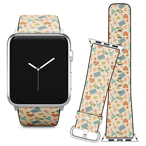 Compatible with Apple Watch (38/40 mm) // Leather Replacement Bracelet Strap Wristband + Adapters // Colorful Christian Symbols ()